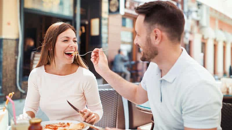 Woman attracted to playful man
